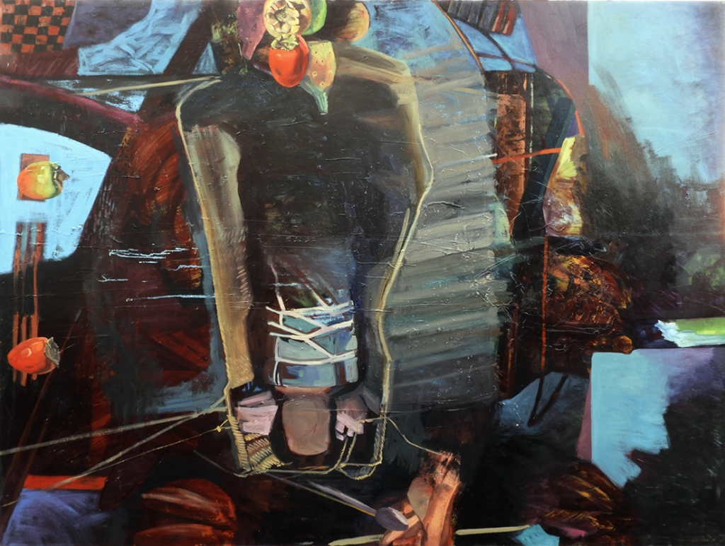 Maureen Paxton abstract oil painting with faceless child suspended in a carrier.